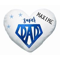 Coussin coeur papa Super DAD personnalisé avec prénom