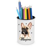 Pot à crayons Bouledogue français personnalisé avec prénom