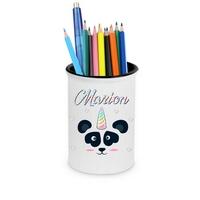 Pot à crayons Panda licorne personnalisé avec prénom