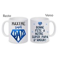 Mug (tasse) céramique Papa Super DAD personnalisé avec prénom et message
