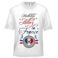 Tee shirt enfant France Football Féminin personnalisé avec prénom