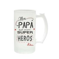Chope à bière Mon papa est mon super héros personnalisée avec prénom