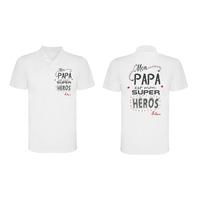 Polo homme Mon papa est mon super héros personnalisé avec prénom