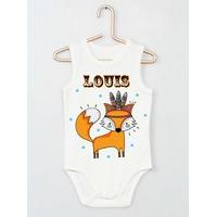 Body bébé débardeur Renard Boho personnalisé avec le prénom de votre choix
