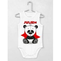 Body bébé débardeur Panda personnalisé avec le prénom de votre choix