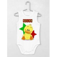 Body bébé débardeur Poussin personnalisé avec le prénom de votre choix