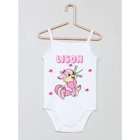 Body bébé débardeur Lapin rose personnalisé avec le prénom de votre choix