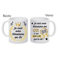 Mug tasse céramique Nounou en or personnalisé avec prénom de l'élève