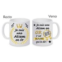 Mug tasse céramique Atsem en or personnalisé avec prénom de l'élève