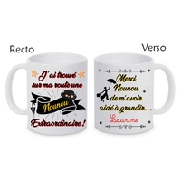 Mug tasse céramique Nounou extraordinaire personnalisé avec prénom de l'élève
