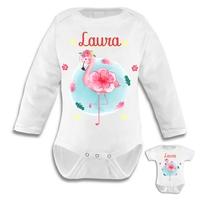 Body bébé Flamant rose personnalisé avec prénom au choix