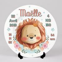 Assiette  Naissance Lion personnalisée prénom, date,heure,taille...