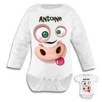 Body bébé Animal rigolo personnalisé avec le prénom de votre choix