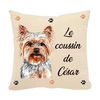 Coussin pour chien Yorkshire personnalisé avec le nom de votre animal