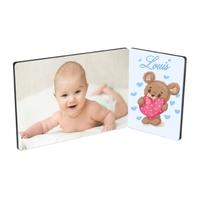 Cadre photo double Bébé Ourson garçon personnalisé avec votre photo prénom