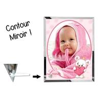 Cadre en verre personnalisé avec votre photo et votre texte Thème Ourson garçon