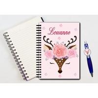 Cahier à spirales et stylo Cerf Nature personnalisé avec prénom