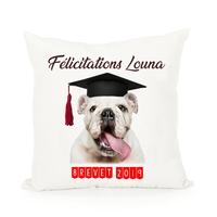 Coussin Bulldog Diplomé personnalisé avec prénom et nom du diplôme