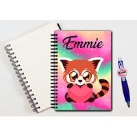 Cahier à spirales et stylo Panda roux personnalisé avec prénom