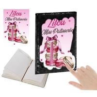 Cahier sequins Miss Pâtisserie Macarons personnalisé avec prénom