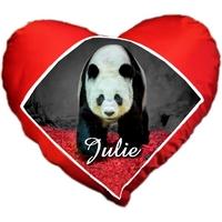 Coussin coeur Panda personnalisé avec prénom au choix
