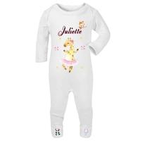 Pyjama bébé Animaux ballet personnalisé avec le prénom de votre choix