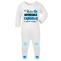 Pyjama bébé Adorable canaille personnalisé avec le prénom de votre choix