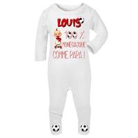 Pyjama bébé Football MONACO personnalisé avec le prénom de votre choix