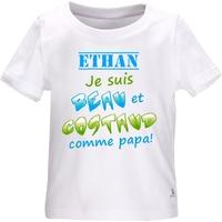 Tee shirt bébé Beau et costaud comme papa personnalisé avec le prénom de votre choix