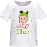 Tee shirt bébé grenouille personnalisé avec le prénom de votre choix