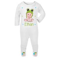 Pyjama bébé Grenouille personnalisé avec le prénom de votre choix