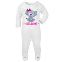 Pyjama bébé Eléphant fille personnalisé avec le prénom de votre choix