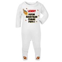 Pyjama bébé Futur rugbyman personnalisé avec le prénom de votre choix