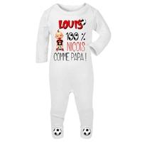Pyjama bébé Football NICE personnalisé avec le prénom de votre choix