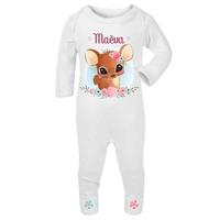 Pyjama bébé Faon personnalisé avec le prénom de votre choix