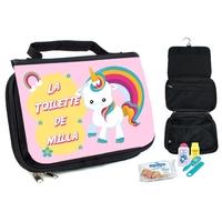 Trousse de toilette bébé licorne personnalisée avec prénom