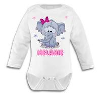 Body bébé Elephant fille personnalisé avec le prénom de votre choix
