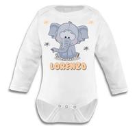 Body bébé Elephant garçon personnalisé avec le prénom de votre choix