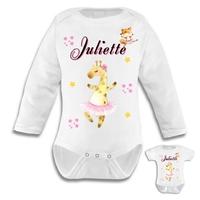 Body bébé Animaux Ballet personnalisé avec le prénom de votre choix