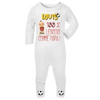 Pyjama bébé Football Lens personnalisé avec le prénom de votre choix