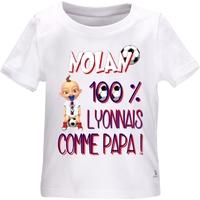 Tee shirt bébé Football LYON comme papa personnalisé avec le prénom de votre choix