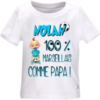 Tee shirt bébé Football MARSEILLE comme papa personnalisé avec le prénom de votre choix