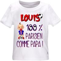 Tee shirt bébé Football PARIS comme papa personnalisé avec le prénom de votre choix