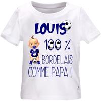 Tee shirt bébé Football BORDEAUX comme papa personnalisé avec le prénom de votre choix