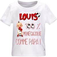 Tee shirt bébé Football MONACO comme papa personnalisé avec le prénom de votre choix