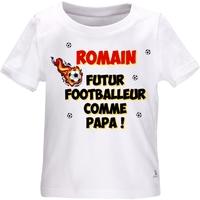 Tee shirt bébé Futur footballeur personnalisé avec le prénom de votre choix