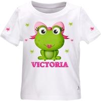 Tee shirt bébé Grenouille fille personnalisé avec le prénom de votre choix
