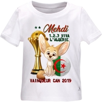 Tee shirt bébé Algérie Foot CAN 2019 personnalisé avec le prénom de votre choix