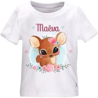 Tee shirt bébé Faon personnalisé avec le prénom de votre choix