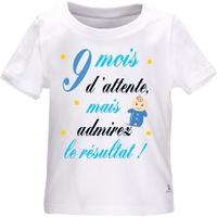 Tee shirt bébé humour 9 mois d'attente, mais admirez le résultat ! Fille